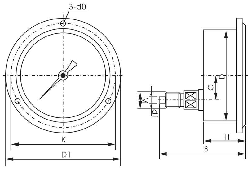 Y-60ZT,轴向压力表,普通压力表