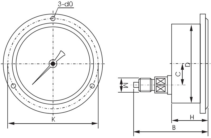 不锈钢压力表,径向不锈钢压力表,耐腐蚀不锈钢压力表,Y-103B-F