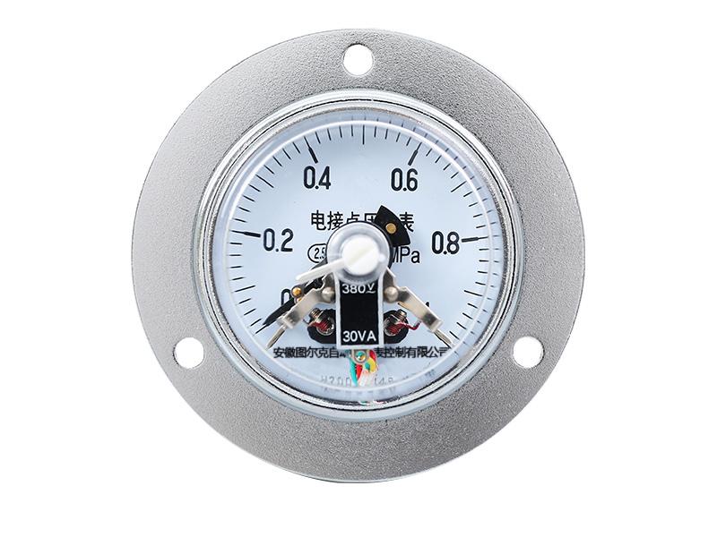 YXC-153B-F耐腐蚀轴向带边不锈钢CIZ磁助式电接点压力表
