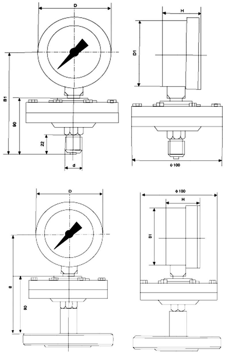防强腐压力表,全塑隔膜压力表,YTP-75S